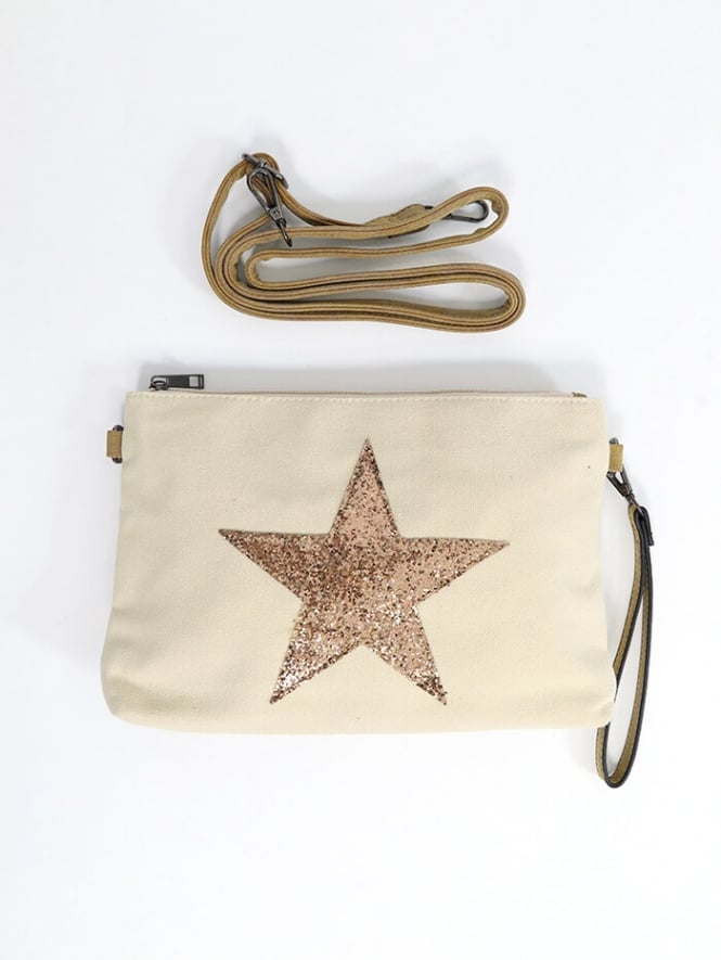 Kit and Kaboodal Sadie Gold Star Clutch Bag