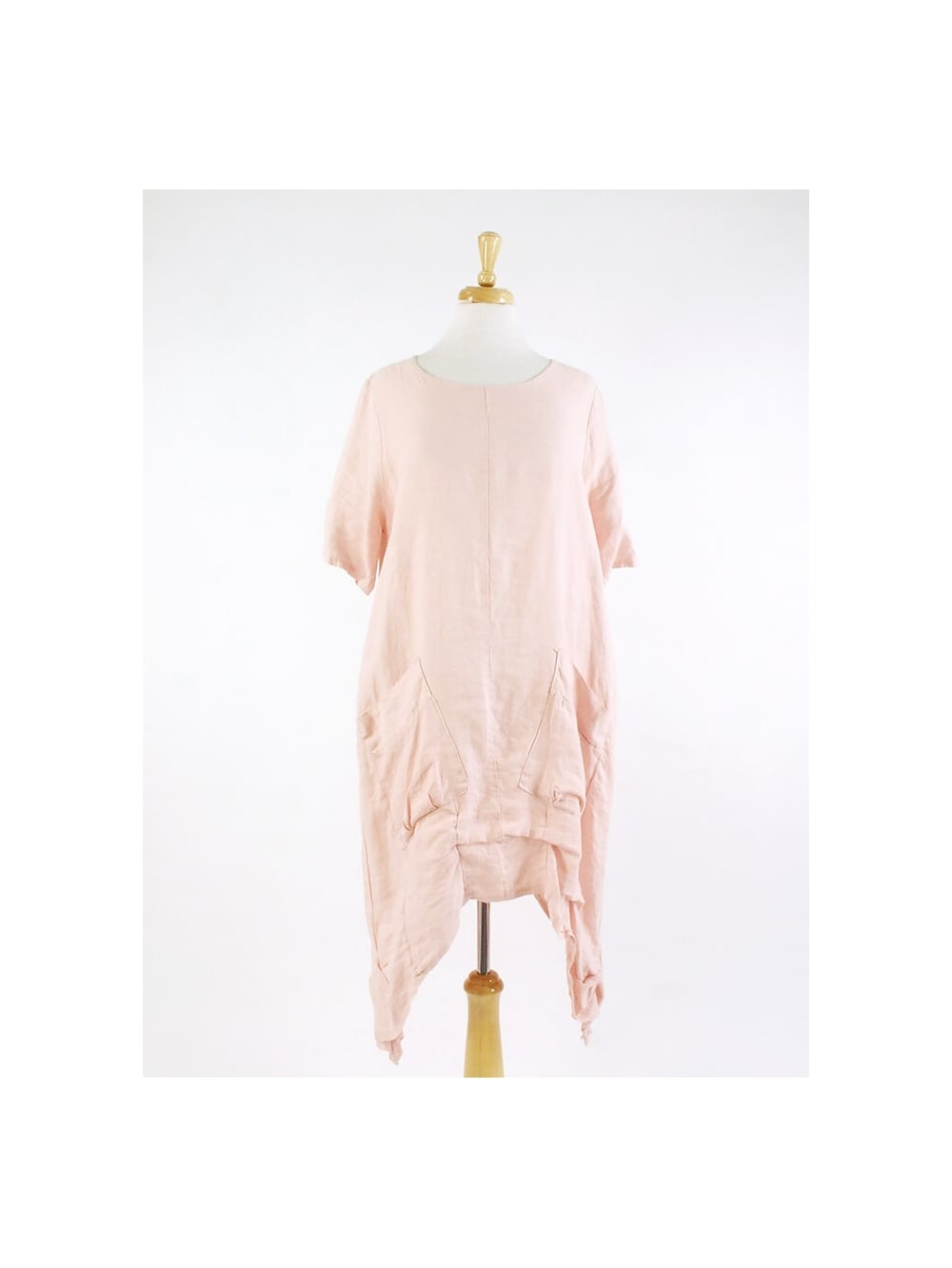 made in italy aberley linen tunic dress pink kit and