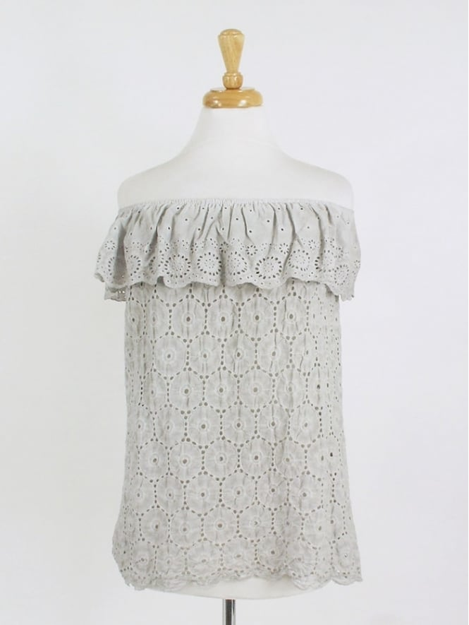 Made in Italy Bardot Cotton Lace Top