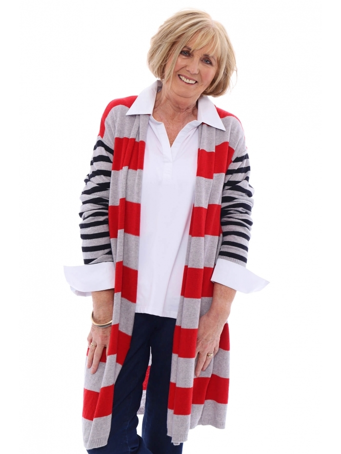 Made in Italy Blenheim Luxury Wool Mix Striped Cardigan