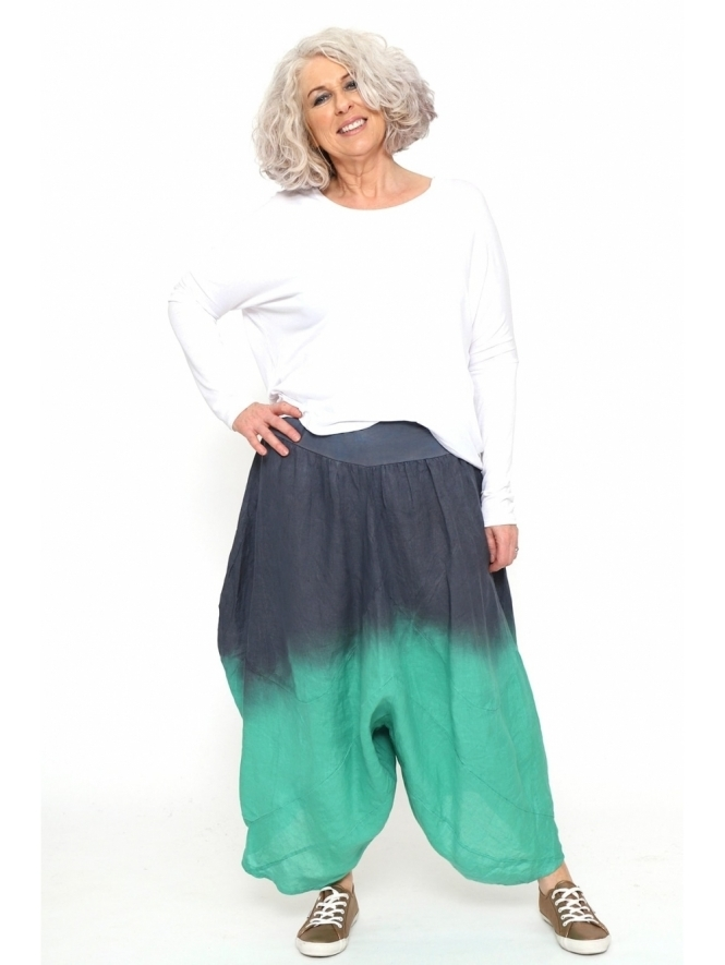 Made in Italy Calimera Dip Dye Linen Harem Pants