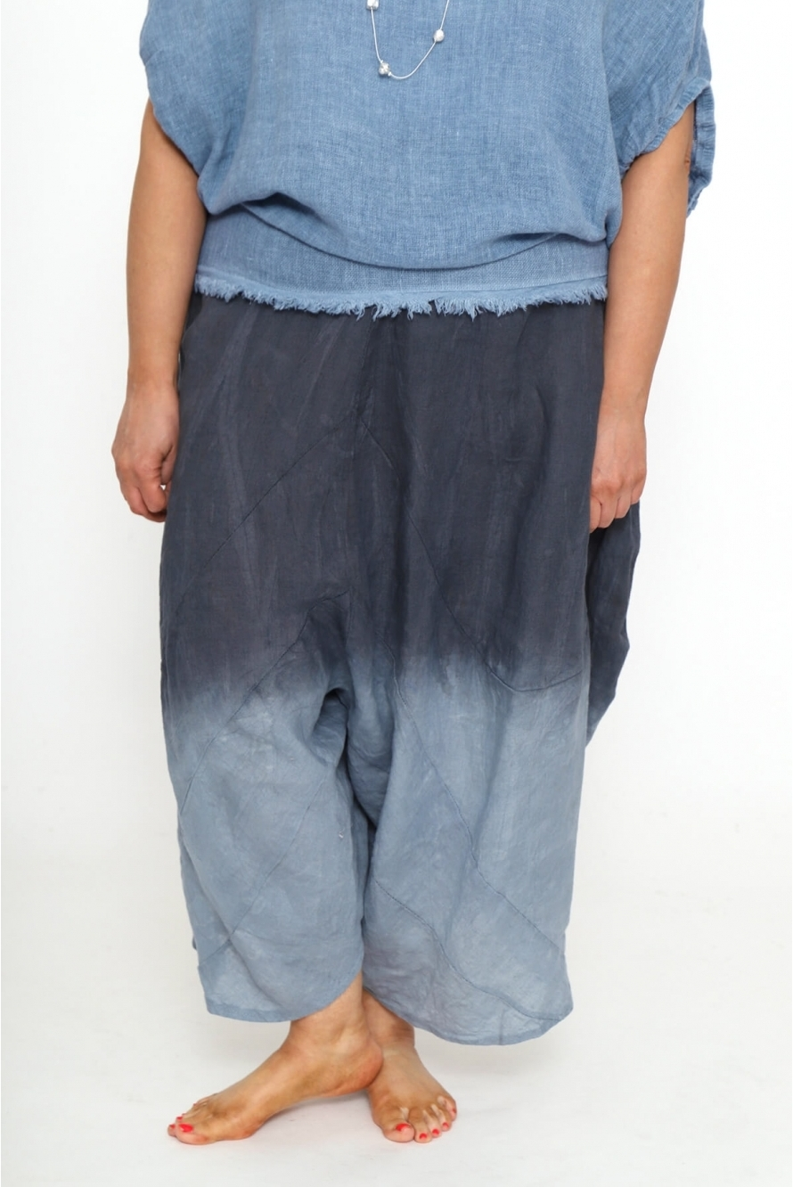 fc474b647ad Made in Italy Calimera Dip Dye Linen Harem Pants