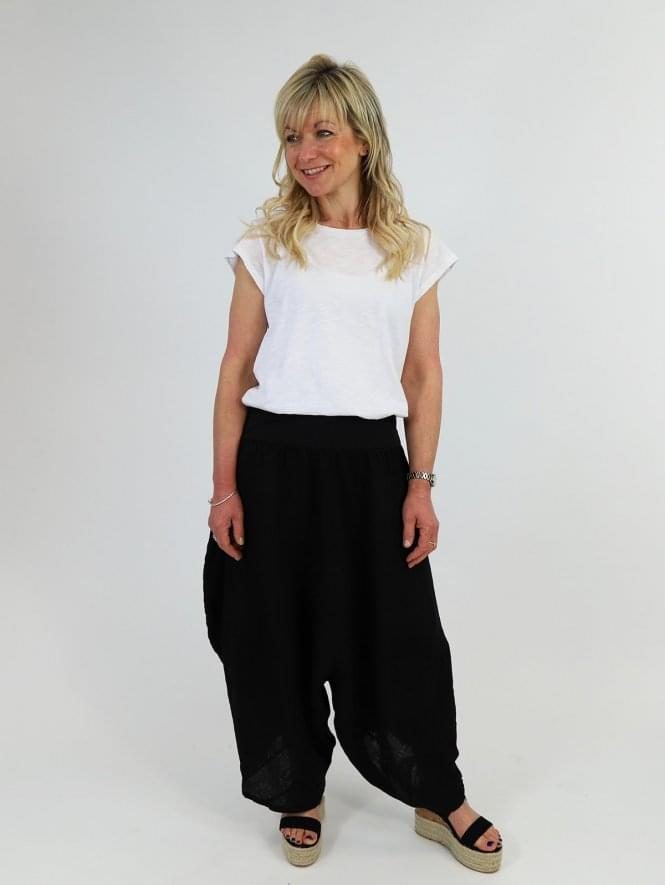 Made in Italy Calimera Linen Harem Pants