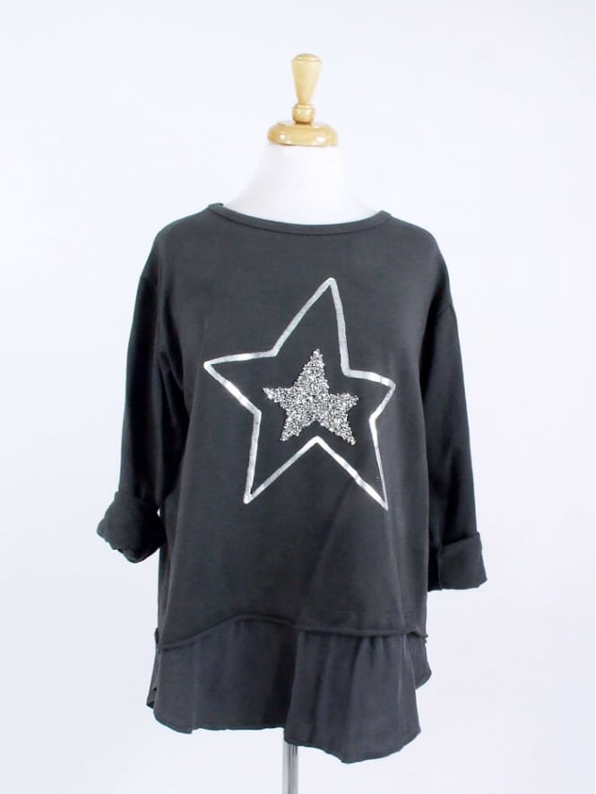 Made in Italy Carley Star Cotton Sweatshirt