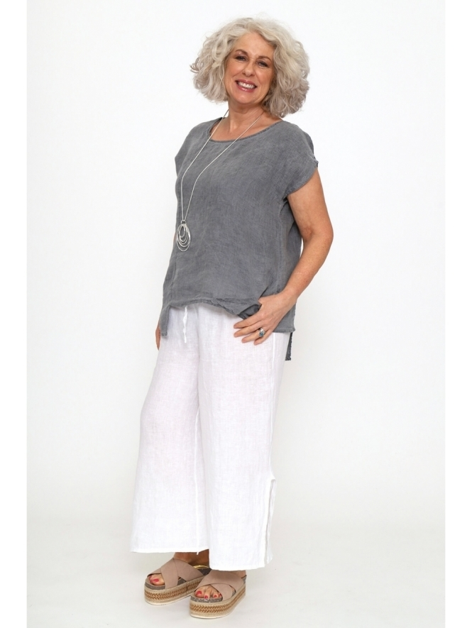 Made in Italy Clementine Washed Linen Top