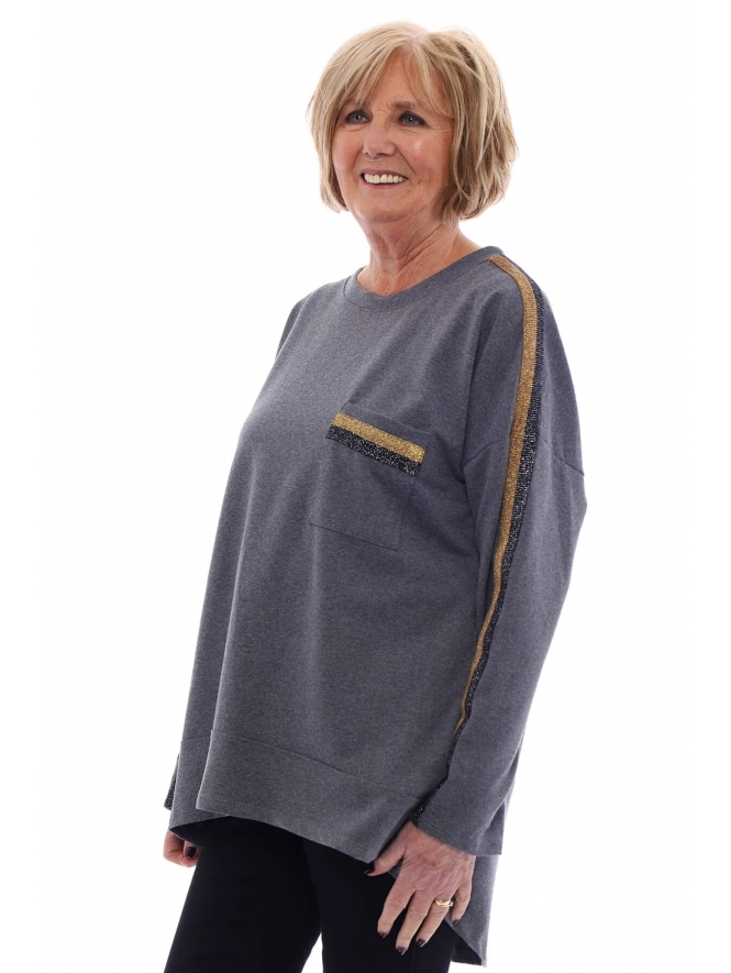 Made in Italy Daventry Sparkle Trim Sweat Top