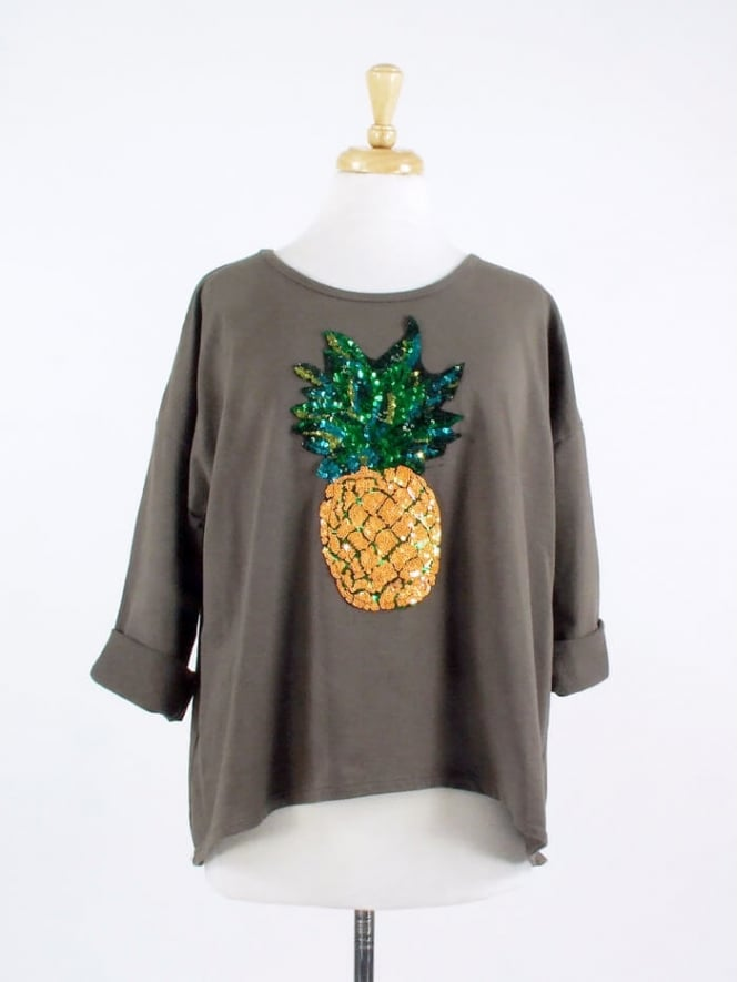 Made in Italy Disco Pineapple Cotton Jumper