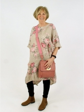 Made in Italy Florence Floral 2 Linen Tunic Dress