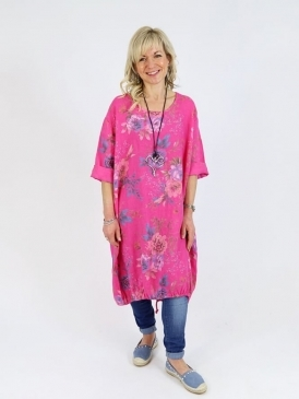 Made in Italy Florence Floral Linen Tunic Dress