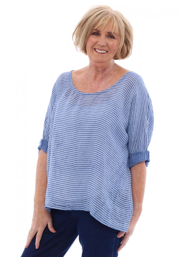 Made in Italy Gables Stripe Linen Top