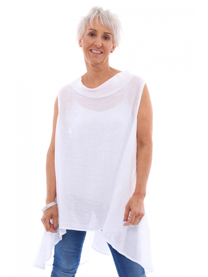 Made in Italy Heworth Sleeveless Linen Top