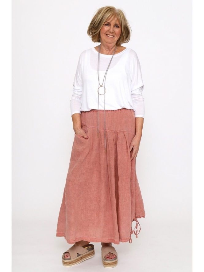 Made in Italy Kaimes Washed Linen Tie Skirt