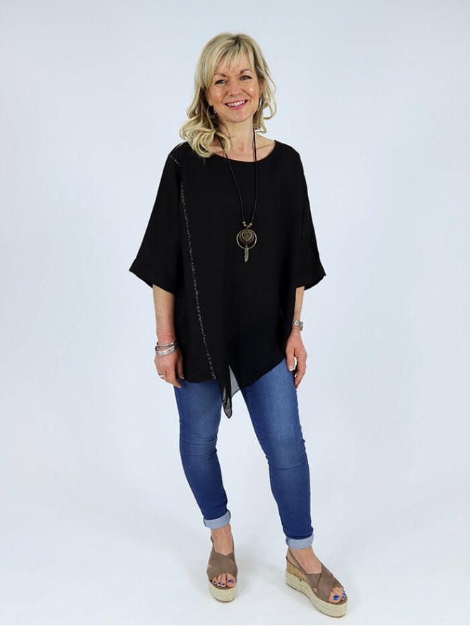 Made in Italy Labro Linen Top Black Necklace