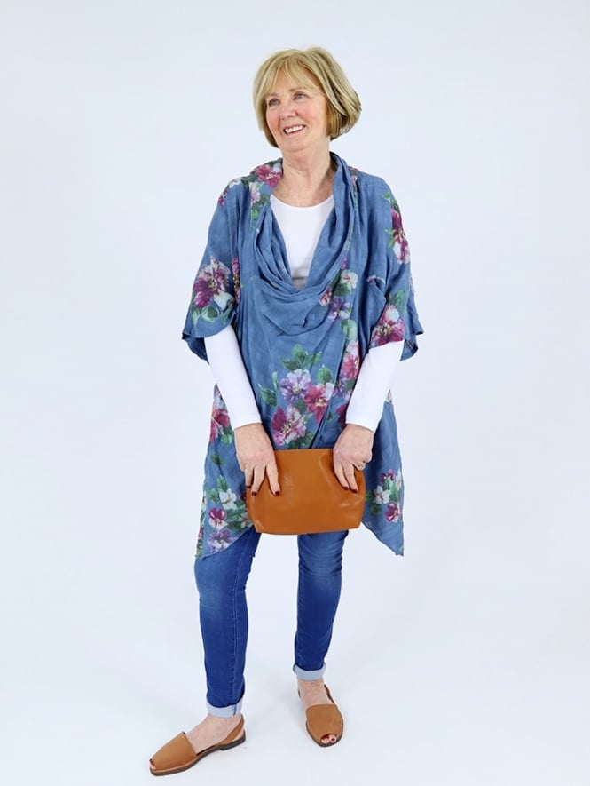 Made in Italy Livorna Floral Cowl Neck Top