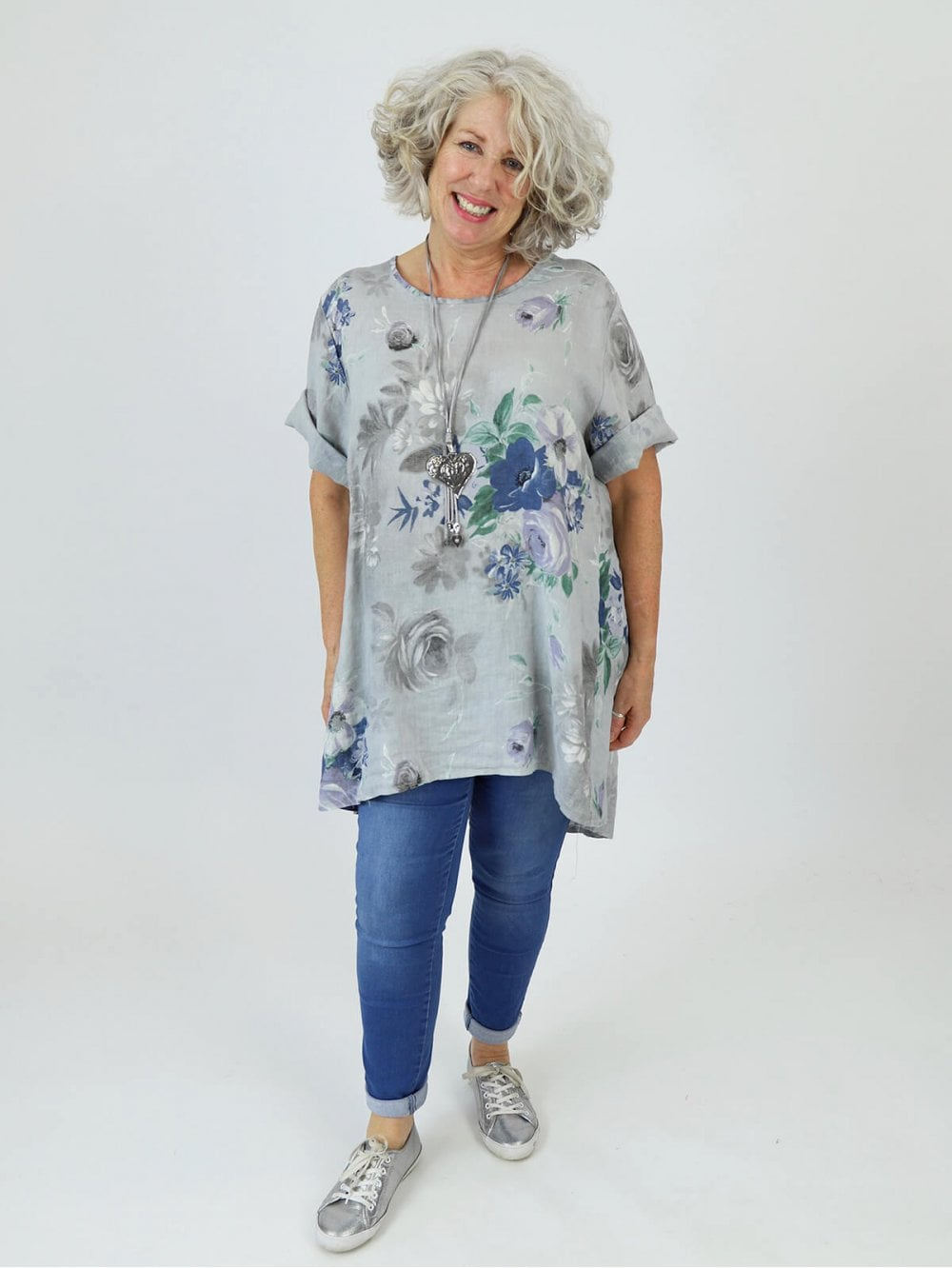 5325ef608fd Made in Italy Lulu 2 Floral Linen Tunic Dress