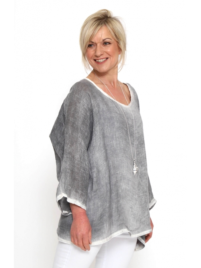 Made in Italy Maggies Washed Linen Top