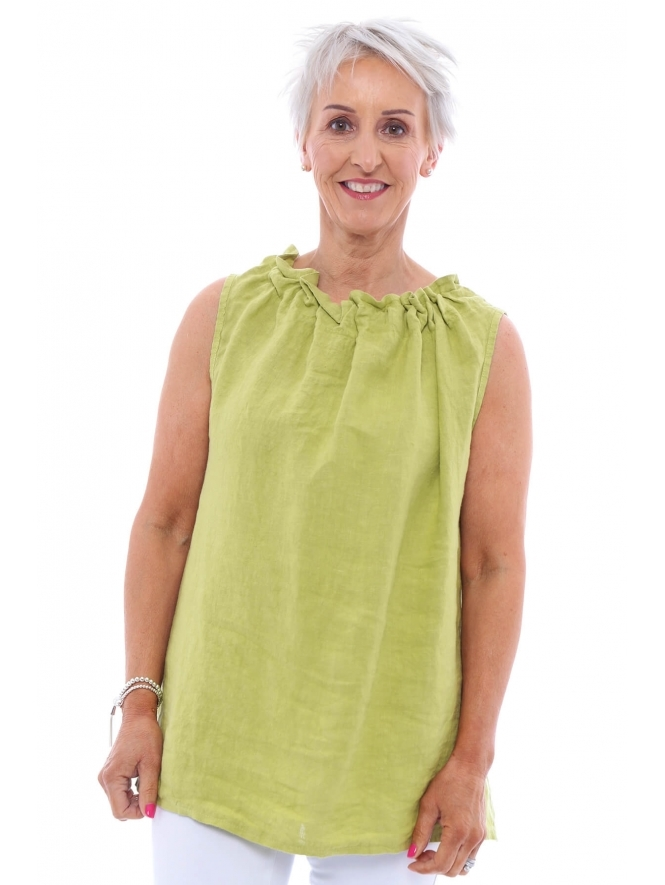 Made in Italy Megdale Tie Neck Sleeveless Top