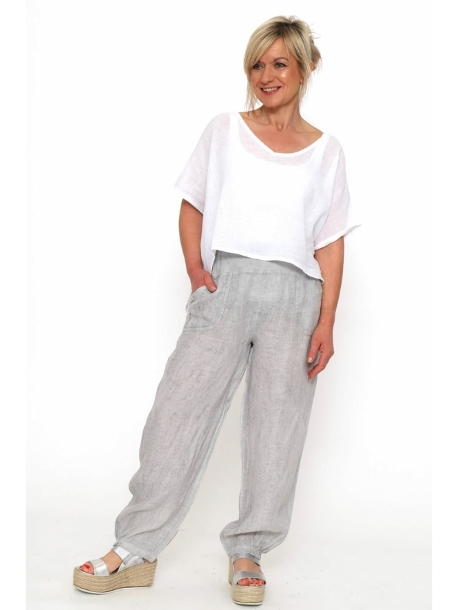 Made in Italy Menna Washed Linen Pocket Trousers