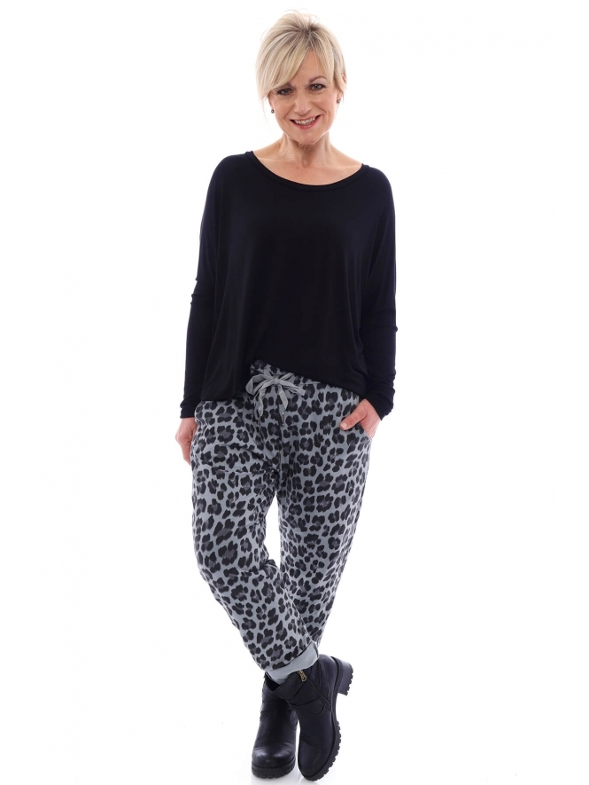 Made in Italy Minskip Leopard Print Jersey Pants
