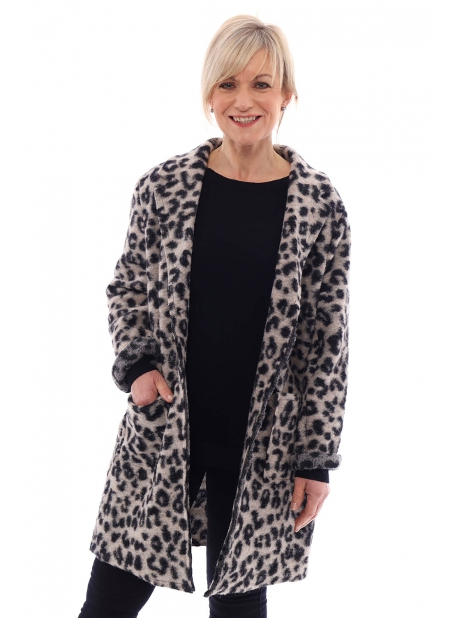 Made in Italy Octavia Leopard Print Wool Jacket