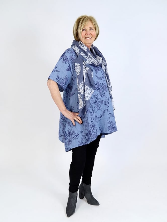 Made in Italy Otranto Floral Linen Tunic