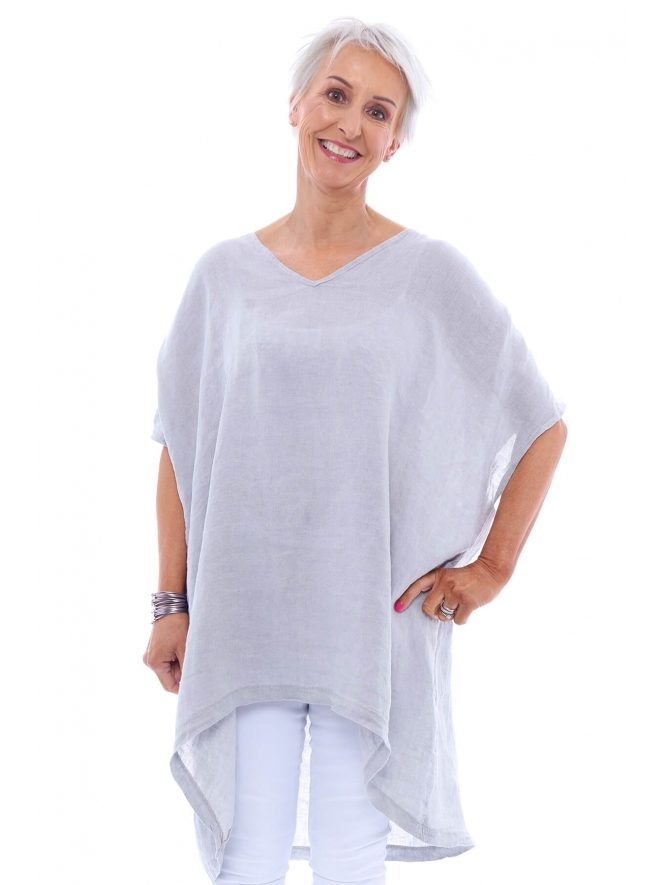 Made in Italy Paramoor V Neck Washed Linen Top