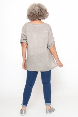Made in Italy Rievaulx Washed Linen Button Top