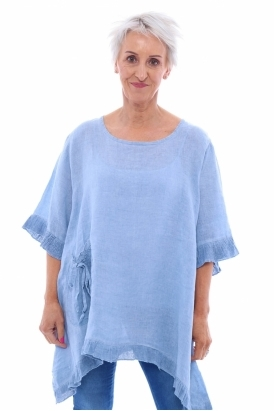 8114a51eaf2 Made in Italy Rowan Dipped Side Washed Linen Tunic