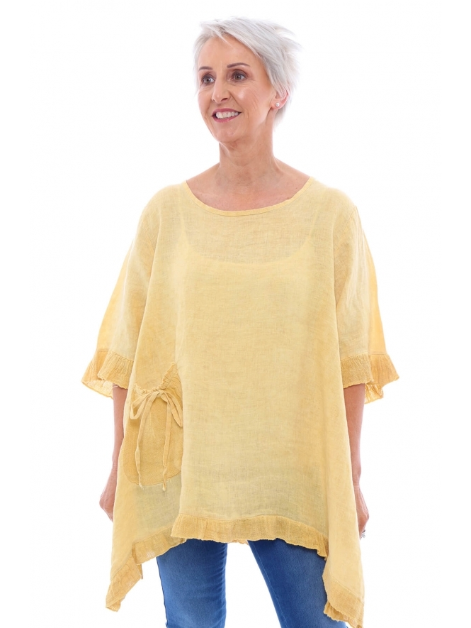 Made in Italy Rowan Dipped Side Washed Linen Tunic