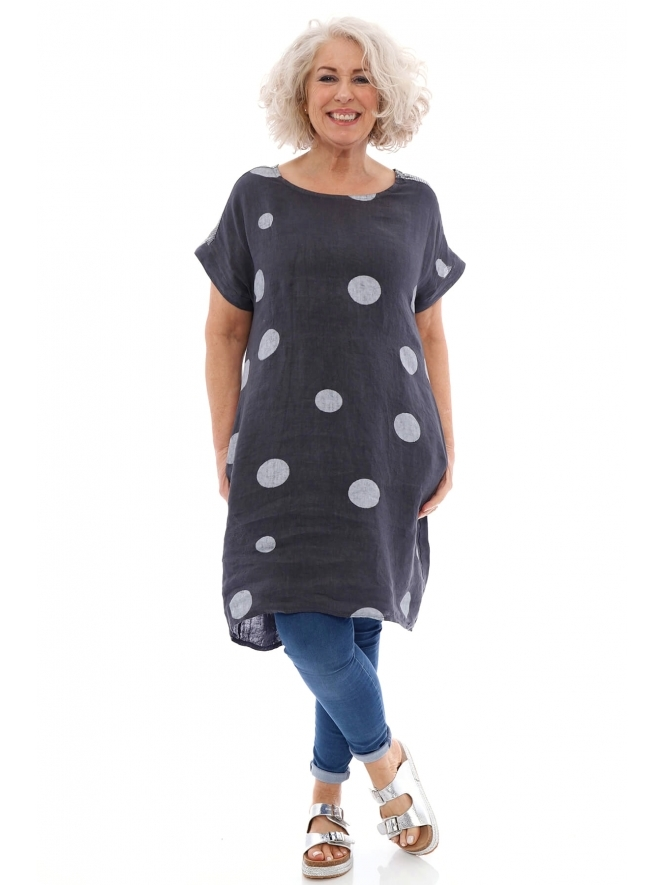 Made in Italy Saffron Spot Linen Tunic Dress