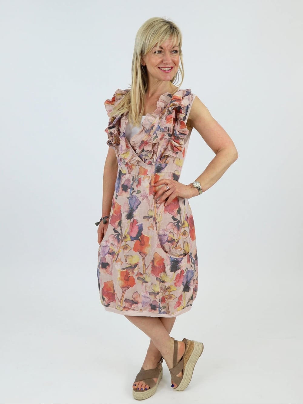 Made in Italy Shoreham Floral Linen Dress