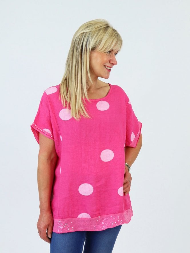 Made in Italy Siena Spot Linen Top