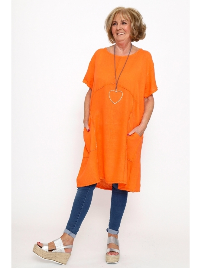 Made in Italy St Mabyn Linen Pocket Tunic Dress
