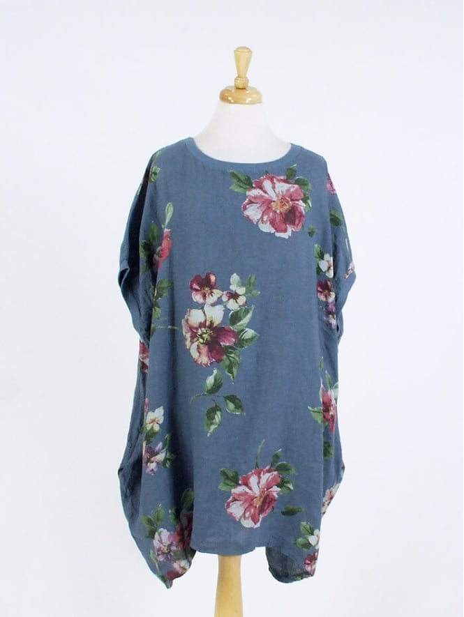 Made in Italy Turin Floral Linen Tunic