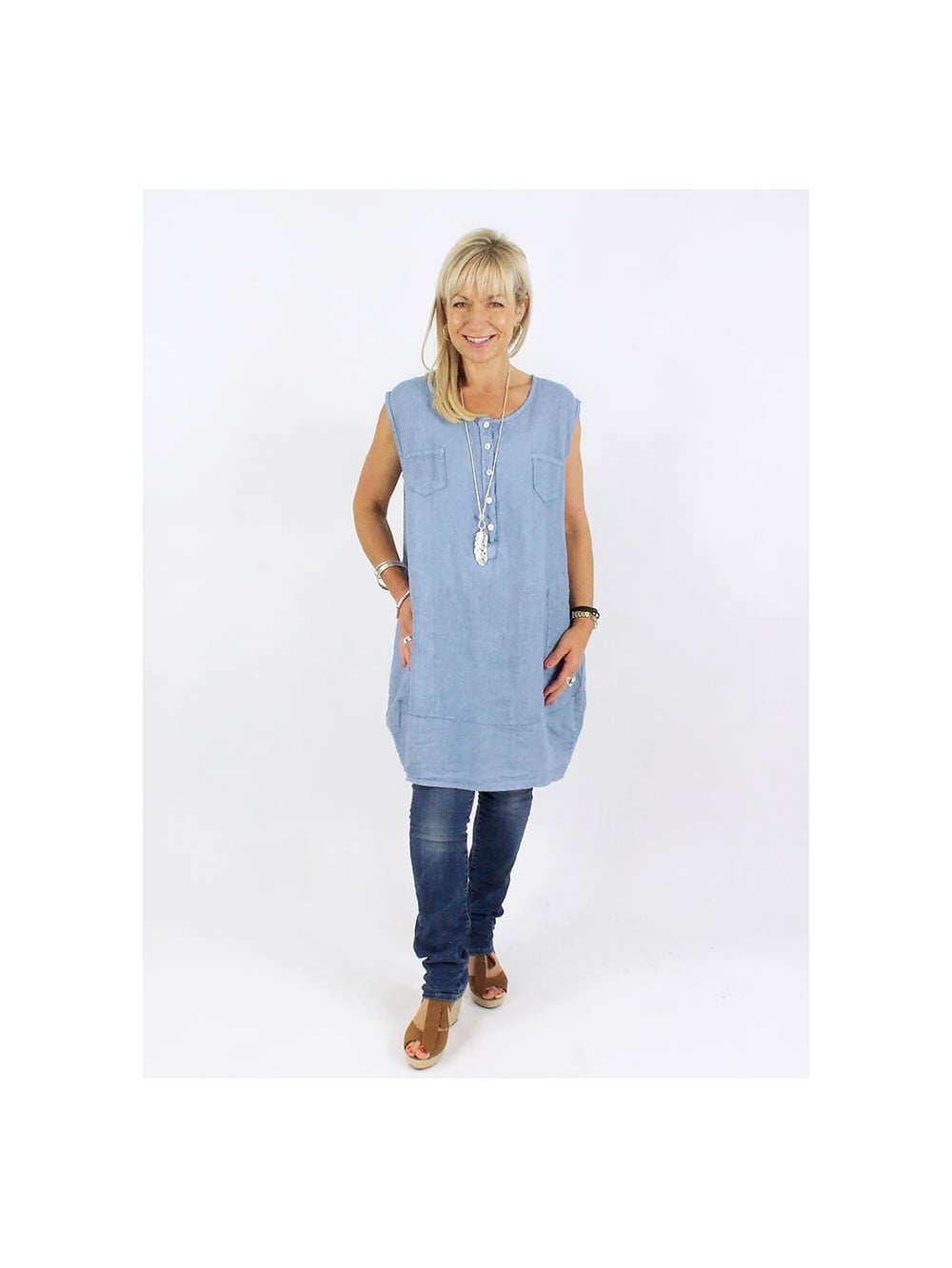 5aac578fd67 Made In Italy Woburn Linen Tunic Dress