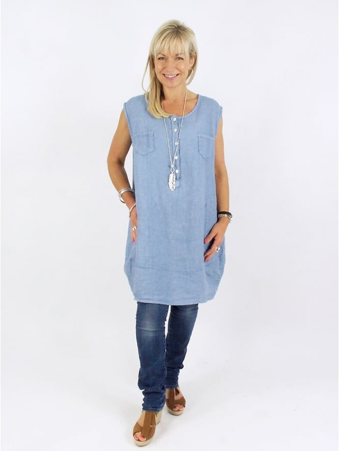 Made In Italy Woburn Linen Tunic Dress